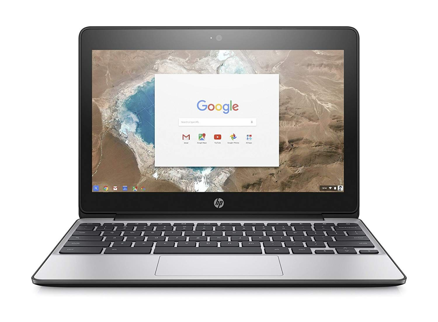 hp chromebook with 16gb emmc hd refurbished front facing
